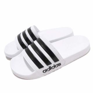 【adidas 愛迪達】涼拖鞋 Adilette Shower 男女鞋 愛迪達 輕便 情侶鞋 快速排水 穿搭 白 黑(AQ1702)