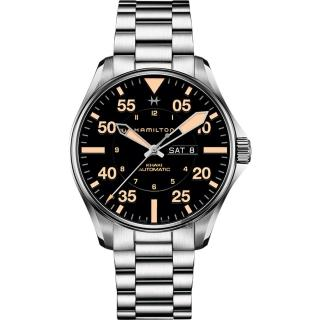 【HAMILTON 漢米爾頓】KHAKI PILOT 飛行員機械錶-黑x卡其色時標/46mm(H64725131)