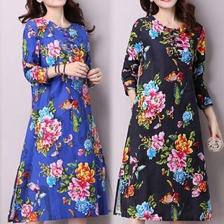 【K.W.】中式棉麻復古印花洋裝 M-XL(共2色)