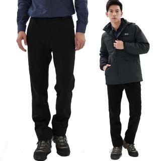 【遊遍天下】男款GLOBETEX顯瘦防水防風透濕刷毛褲雪褲 GP20008黑色(S-5L)