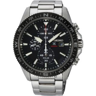 【SEIKO 精工】PROSPEX 太陽能計時手錶-黑x銀/44mm(V176-0BA0D  SSC705P1)