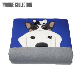 【Yvonne Collection】搗蛋狗小四季被4x5呎(寶藍-剪毛布)