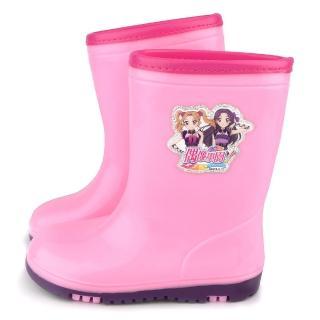 【童鞋城堡】偶像學園 中童 甜美雙色大底雨鞋(ID8922-粉)