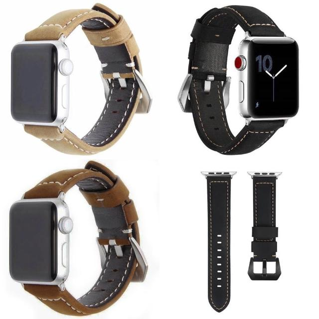 【IN7】磨砂瘋馬紋系列 Apple Watch 手工真皮錶帶 Apple Watch 42mm/44mm(Apple Watch 42mm/44mm)