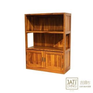 【吉迪市柚木家具】實木雙層開放式書櫃/收納櫃