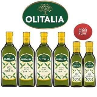 【Olitalia 奧利塔】純橄欖油1000mlx4-禮盒組(贈純橄欖油250mlx2瓶)-春節禮盒