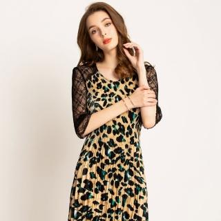 【羽生摺衣】幸福和風-蕾絲袖豹紋洋裝(共二色)