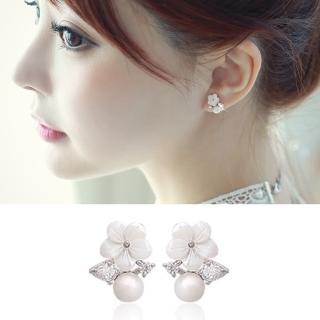 【梨花HaNA】韓國925銀針無瑕梔子花鑽葉珍珠耳環