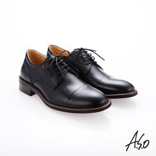【A.S.O 阿瘦集團】職人通勤  綁帶蠟感小牛皮紳士鞋(黑色)