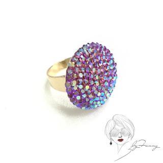 【byFanny】圓鑽戒指-紫紅(奧地利施華洛世奇水晶)