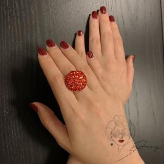 【byFanny】圓鑽戒指-橘(奧地利施華洛世奇水晶)