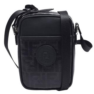 【FENDI 芬迪】經典品牌LOGO帆布包身牛皮飾邊拉鍊肩/斜背包(小-黑色7VA456-A5K4-F0GXN)