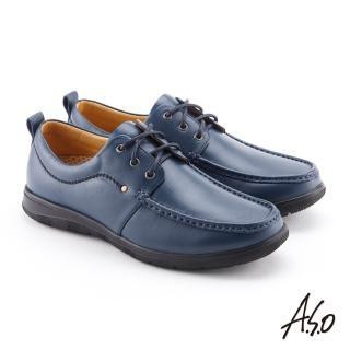 【A.S.O 阿瘦集團】機能休閒  軟牛皮綁帶奈米紳士鞋(深藍)
