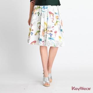 【KeyWear 奇威名品】個性印花中庸百褶裙