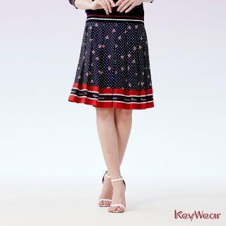 【KeyWear 奇威名品】優雅點點愛心印花百褶裙