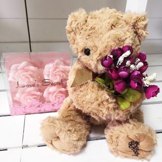 【BonBon naturel】玫瑰紋磁鐵小熊/贈香氛愛的密碼蠟燭(玩偶/交換禮物/情人節禮物)