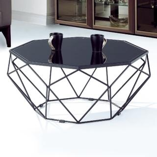 【BODEN】瑞莎2.7尺黑色造型玻璃大茶几