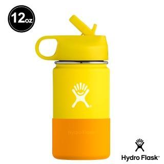 【Hydro Flask】兒童寬口吸管蓋 12oz/355ml 不鏽鋼保溫瓶(檸檬黃)