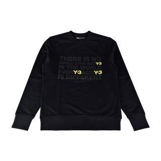 【Y-3山本耀司】adidas Y-3經典文字LOGO棉質長袖T恤(黑)