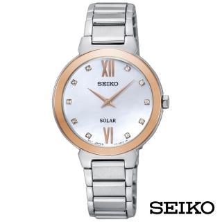 【SEIKO 精工】柔美小步舞曲太陽能女錶-白貝面x30mm(SUP382P1)