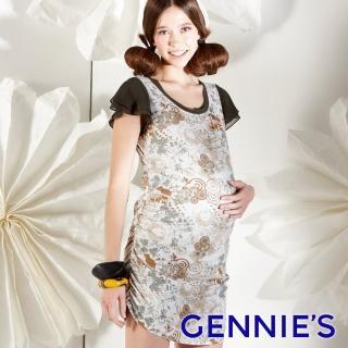 【Gennies 奇妮】幾何花卉星鑽洋裝(墨綠G1112)