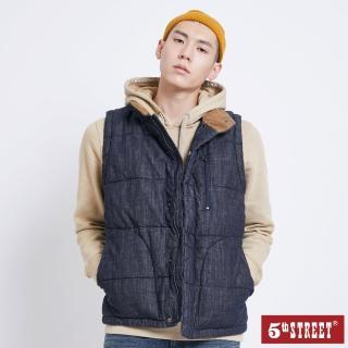 【5th STREET】男牛仔羽絨背心-酵洗藍