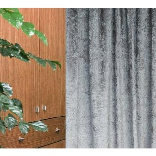 【HOLA】素色緞紋雙層遮光落地窗簾270x230灰色