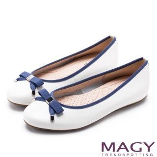 【MAGY】清新女孩 氣質款蝴蝶結牛皮娃娃鞋(白色)