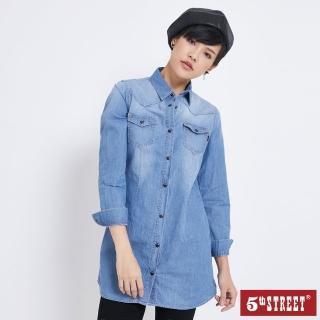 【5th STREET】女牛仔長袖襯衫-中古藍