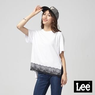 【Lee】Lee 下擺蕾絲拼接短袖圓領TEE/BO-季節性版-白(白)