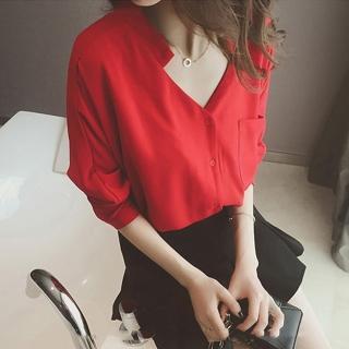 【BBHONEY】韓版前後V領雪紡長袖寬鬆口袋襯衫(OL必備)