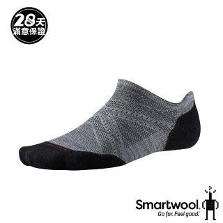 【SmartWool】PhD輕量菁英減震型跑步踝襪(淺灰/黑)