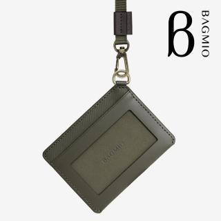 【BAGMIO】vigor 牛皮橫式證件套 橄欖綠 含織帶