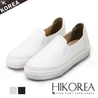 【HIKOREA】正韓製/版型偏小。日系簡約縫線裝飾素面皮革休閒懶人鞋(7-3013共3色/現貨)