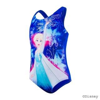 【SPEEDO】女童 休閒連身泳裝 冰雪奇緣(粉藍)