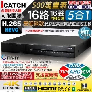 【CHICHIAU】16路五合一 正1080P台製iCATCH數位雙硬碟款監控錄影主機-DVR