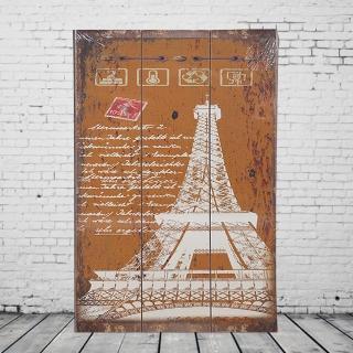 【OPUS LOFT 純真年代】40X60仿舊木板畫/無框畫/掛畫擺飾(A46001-3 法國巴黎鐵塔)