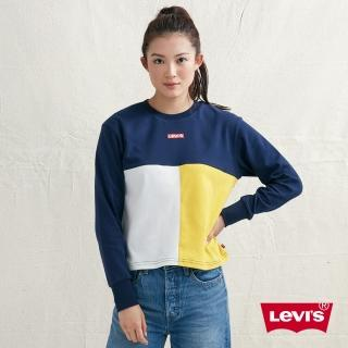 【LEVIS】女款 長袖T恤 / 色塊拼接 / Box Logo(亞洲限定)