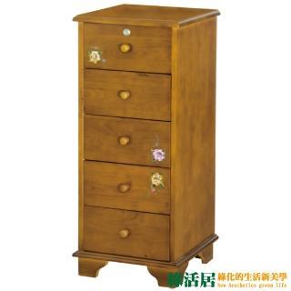 【綠活居】米格  1.4尺實木鄉村彩繪五抽櫃 收納櫃