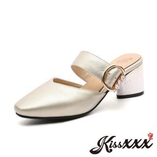 【KissXXX】小尖頭V形淺口美鑽釦木紋粗跟拖鞋 穆勒鞋(金)