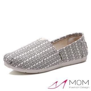 【MOM】美式潮流休閒舒適帆布鞋 懶人樂福鞋(英文字母白)