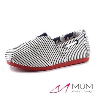 【MOM】美式潮流休閒舒適帆布鞋 懶人樂福鞋 親子童鞋(藍色條紋)