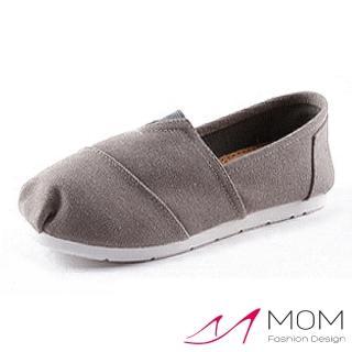 【MOM】美式潮流休閒舒適帆布鞋 懶人樂福鞋 親子童鞋(素面灰)