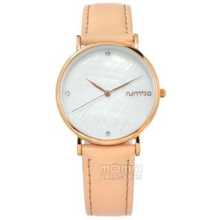 【rumba time】Lafayette 紐約品牌 珍珠母貝晶鑽 真皮手錶 銀白x玫瑰金框x粉膚 32mm(RU27747)