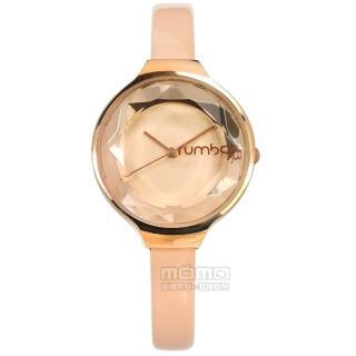 【rumba time】Orchard 紐約品牌 切割玻璃鏡面 亮面真皮手錶 奶茶色x玫瑰金框 30mm(RU28515)