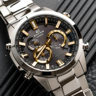 【CASIO 卡西歐】多功能太陽能電波指針錶-銀x黃(EQW-T640YD-1A9DR)