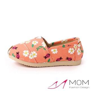 【MOM】韓版休閒舒適帆布鞋 懶人樂福鞋 童鞋(可愛花園橘)