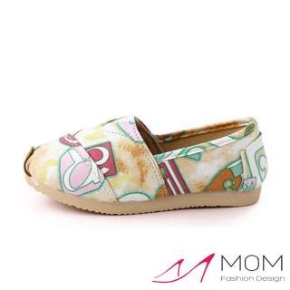 【MOM】韓版休閒舒適帆布鞋 懶人樂福鞋 童鞋(炫彩字母黃)