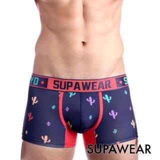【SUPAWEAR】趣味系列仙人掌超彈性型男四角內褲(海藍色)
