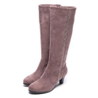 【DIANA】低調奢華–簡約耀眼亮鑽羊絨修飾長靴(可可)